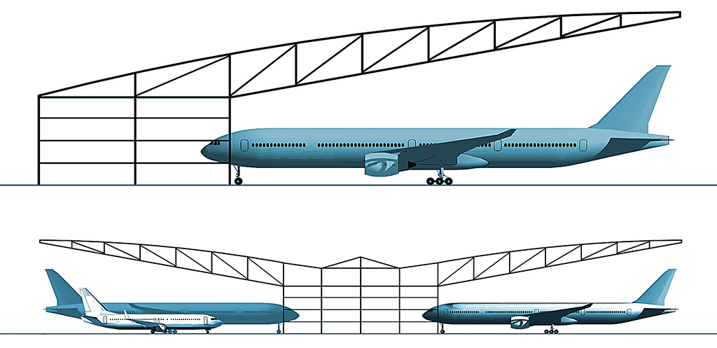 Clear entry aircraft hangars airplane hangars for Aircraft hanger designs
